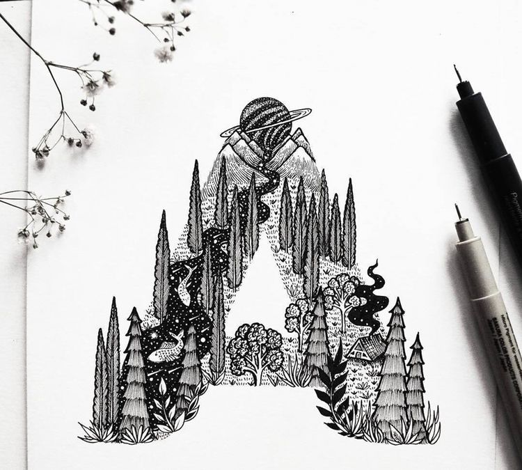 针管笔黑白插画,把死板的字母画的活灵活现