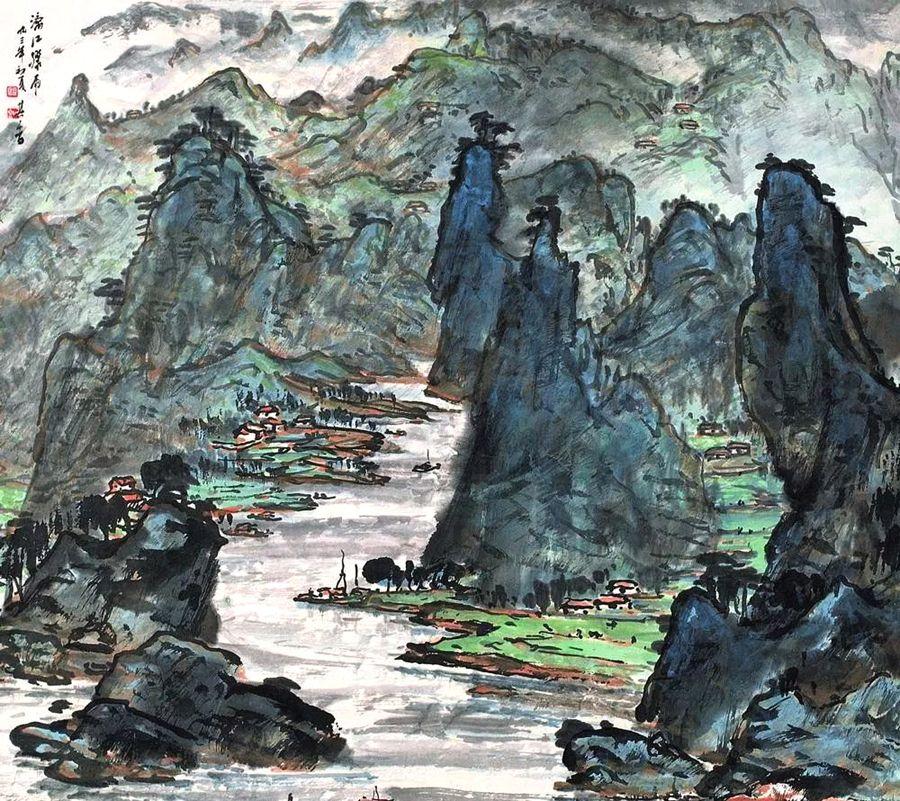 他笔下的彩墨山水,跌宕而丰富,名家宗其香10绘画作品欣赏