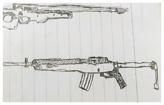 刺激战场:小学生手绘吃鸡武器,图4大神表示猜不到,画风太走神
