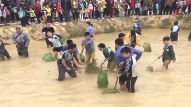 村长的鱼塘被抽干了,村民们赶紧下去比赛抓鱼,简直太热闹了!