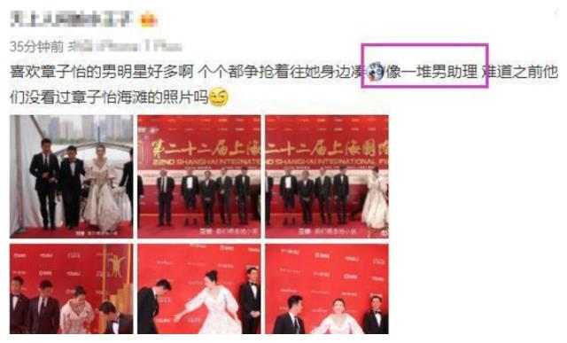 章子怡走红毯,吴京胡歌左右跟随,网友:就像一堆男助理!