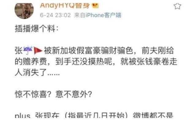 """张雨绮被新加坡假富豪骗财骗色?她疑似回应""""命好没办法"""""""