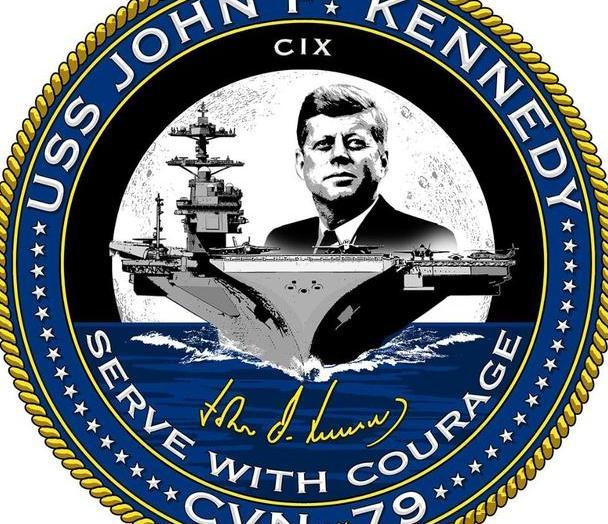 """美国海军发布""""肯尼迪""""号航母(CVN-79)的舰徽"""