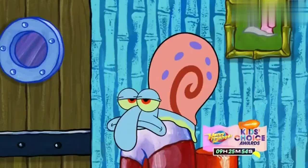 海绵宝宝为了在家找到工作的感觉把小蜗整成了章鱼哥的样子