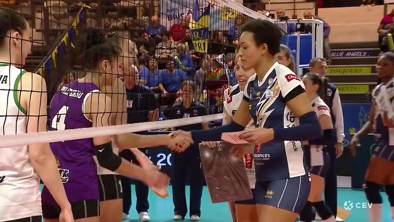 1月21日,乌拉洛奇卡女排战胜法国戛纳女排集锦,欧冠女排联赛