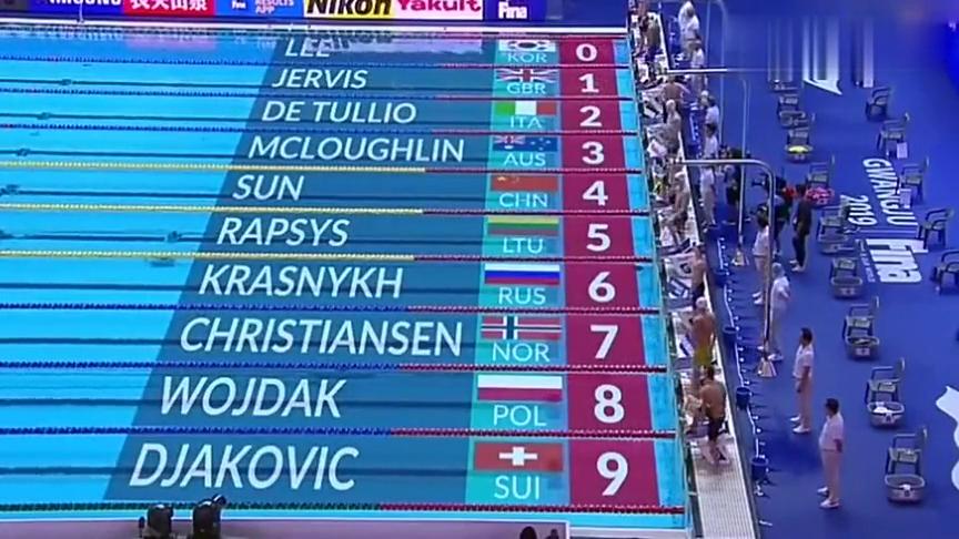 泳联世锦赛:孙杨在男子400米预赛中以3分44秒10成功晋级