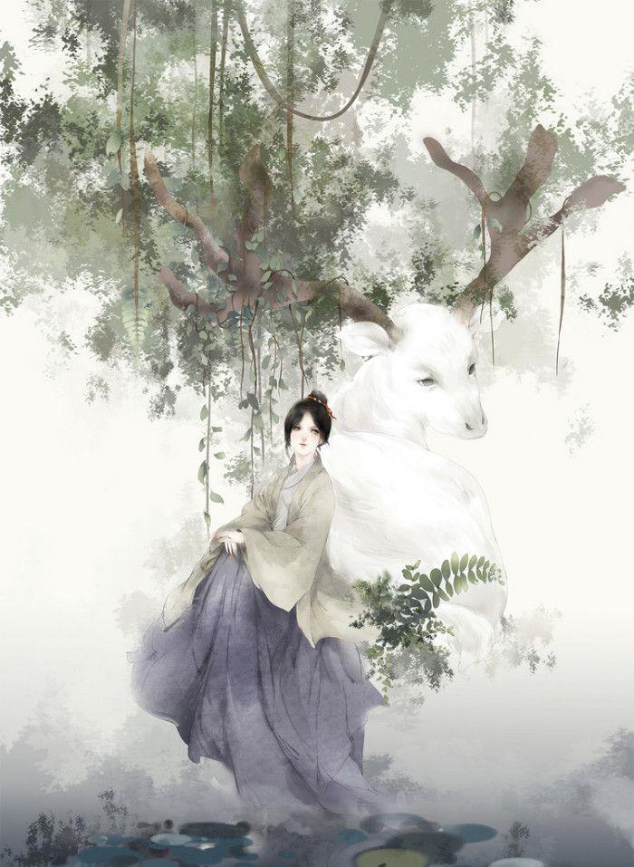 唯美古风手绘插画壁纸,花开花落与子相守,山长水阔与子同游