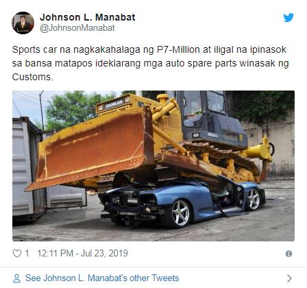 法拉利惨遭推土机碾压?菲律宾海关硬核处理走私豪车