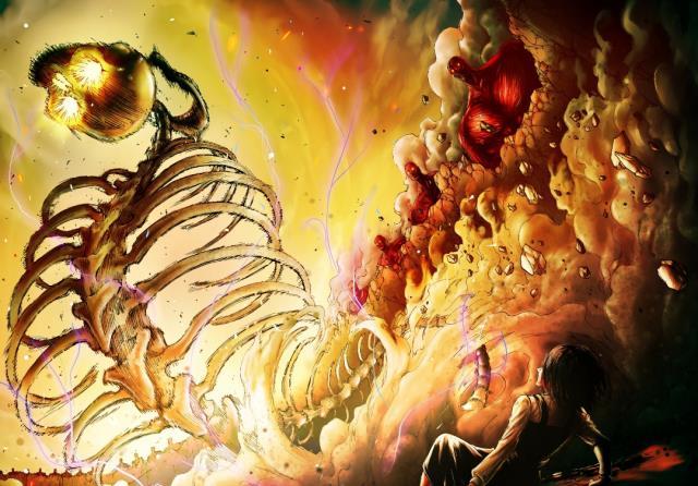 进击的巨人123话:艾伦变身巨人和尤弥尔的差距明显,艾伦在进化
