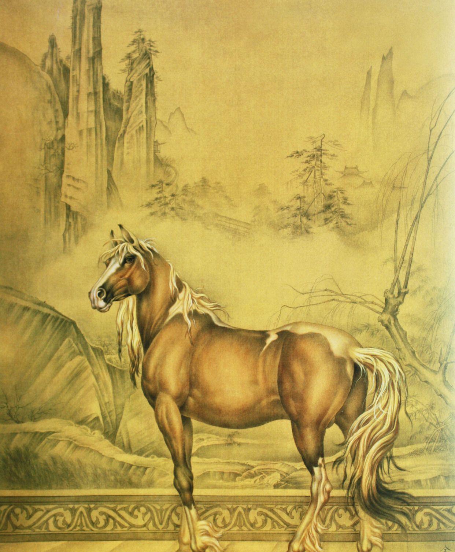 仰手接飞猱,俯身散马蹄。精骨工笔马作品欣赏