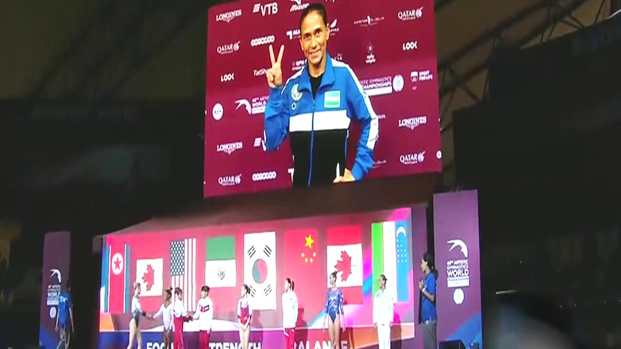 拜尔斯首夺世锦赛女子跳马金牌 刘津茹位列第六