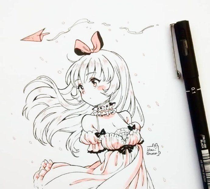 马克笔手绘漫画,我是萌萌哒小妖精,你敢来撩我吗?