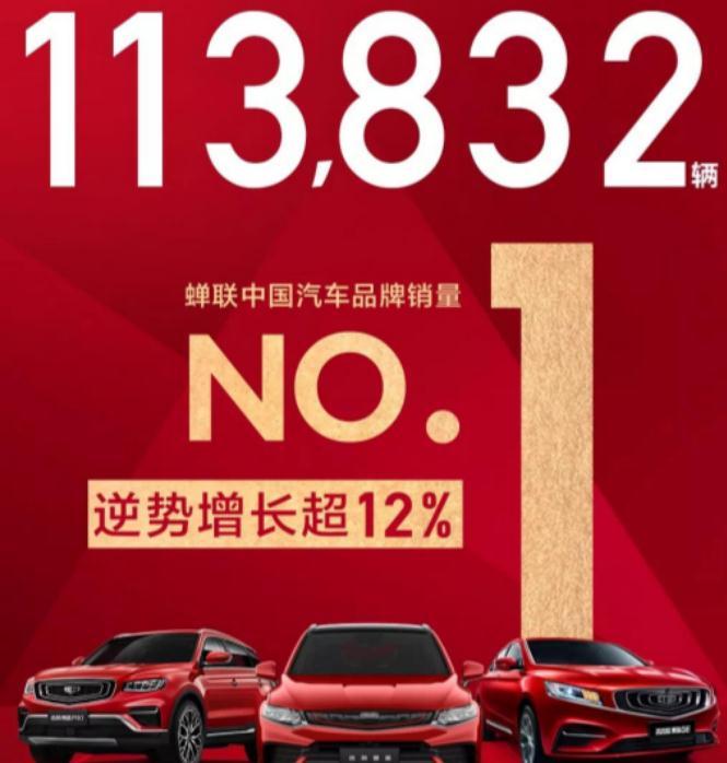 蝉联中国汽车品牌销冠,环比增长12%,吉利汽车9月销量113832辆