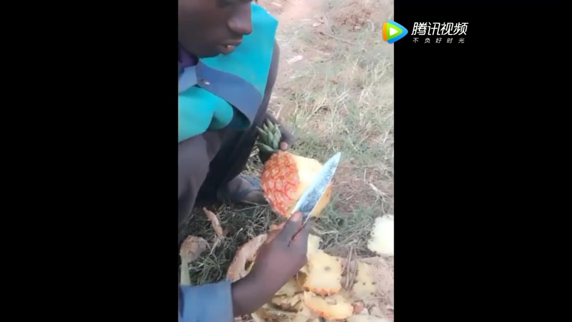 非洲小哥第一次吃菠萝看他切了两刀后实在忍住笑了出来