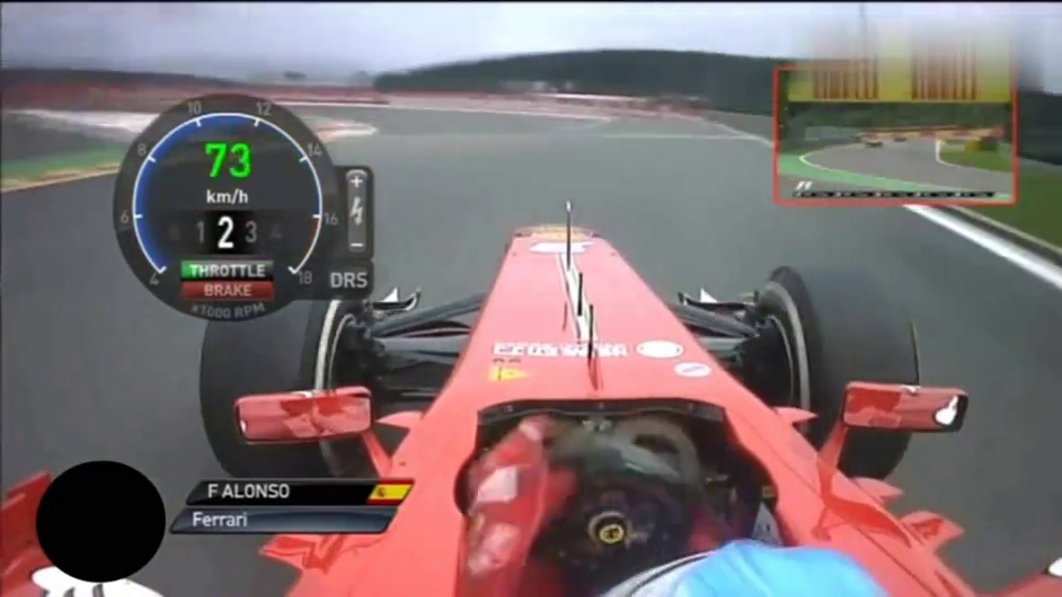 赛车:第一视角欣赏法拉利车手阿隆索升档降档驾驶过程,速度太快