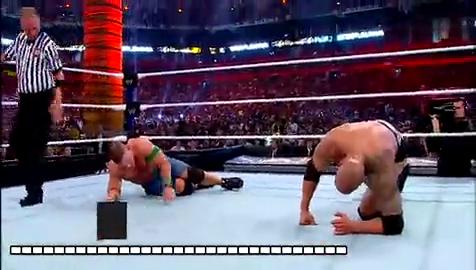 巨石强森与约翰塞纳PK!巨石用一个飞冲肩跟一个暴摔!结束战斗