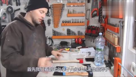 国外大叔发明劈柴神器,一天能劈5吨木柴,造价只要5块钱