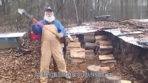 """国外大叔发明""""劈柴""""神器,不用油不用电,2小时能砍1吨木头"""