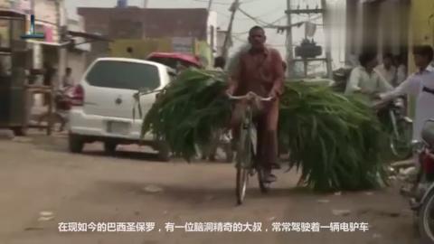 奇葩大叔造毛驴摩托车,开它比跑车吸人眼球,有缰绳还有配饰