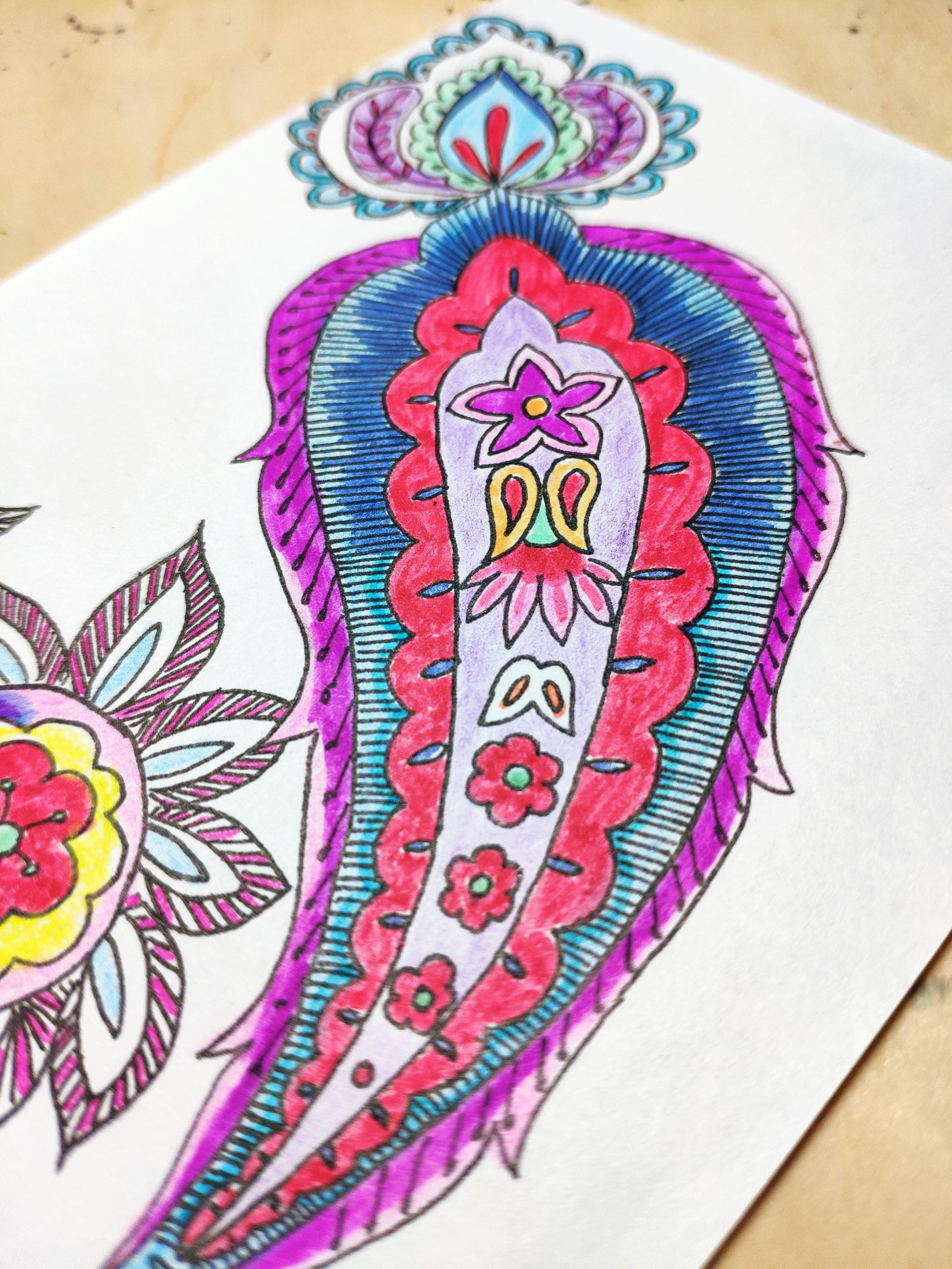让人欲罢不能的简笔画大花纹练习