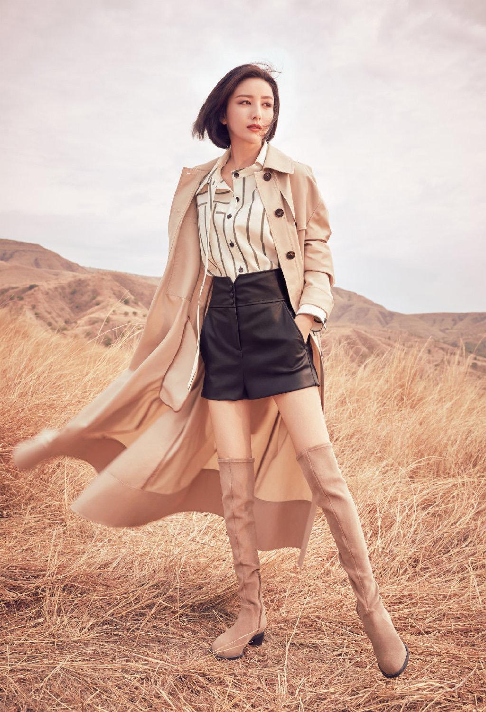 佟丽娅山丘风情,性感时尚,高颜值怎样都好看!