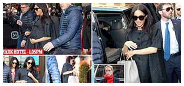 时尚孕妈梅根脚踩小高跟现身,斗篷款大衣搭黑色太阳镜帅气迷人!