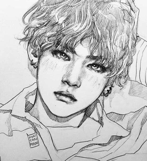 人物素描,帅气的韩系明星素描画,防弹少年团,田柾国