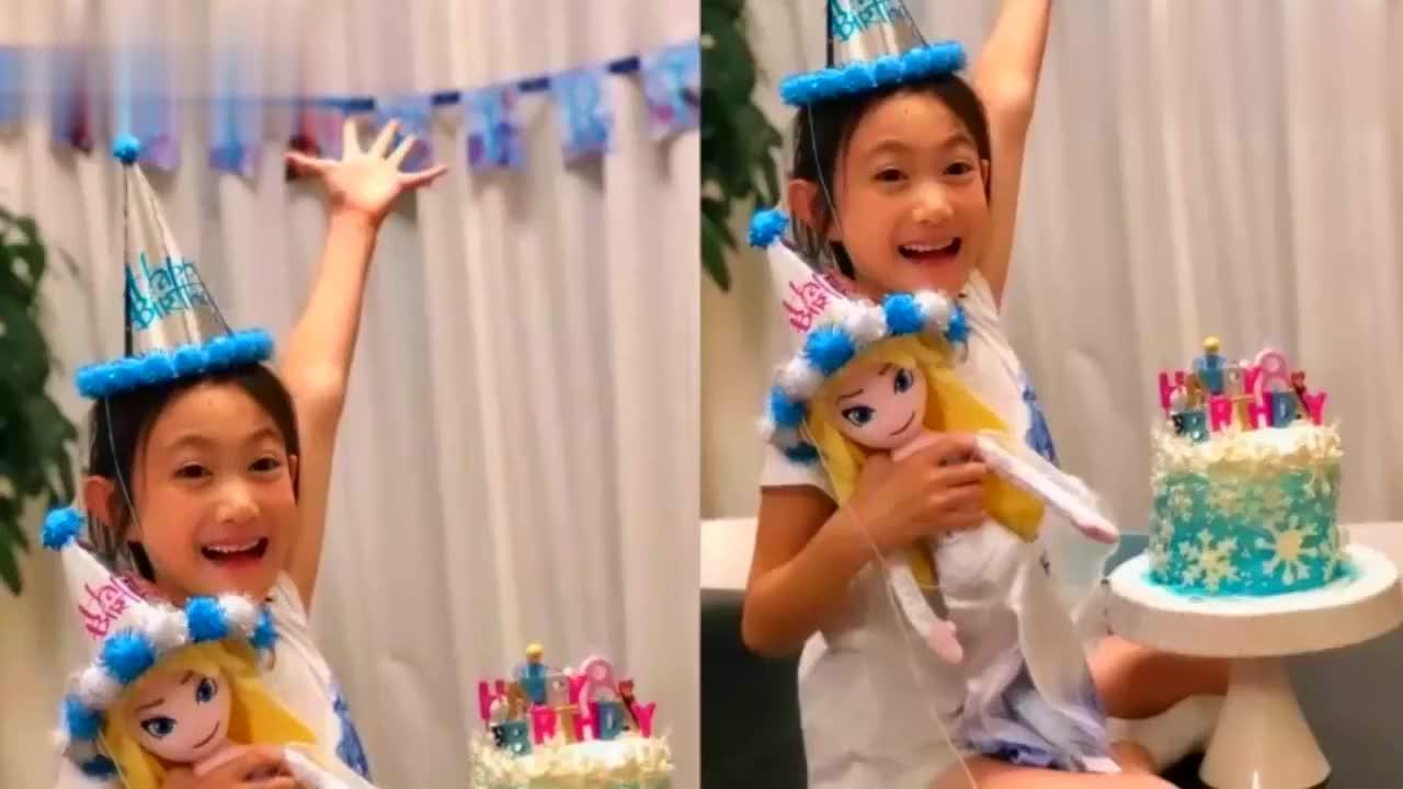 李小鹏晒照为女儿庆8岁生日,奥莉长腿初现