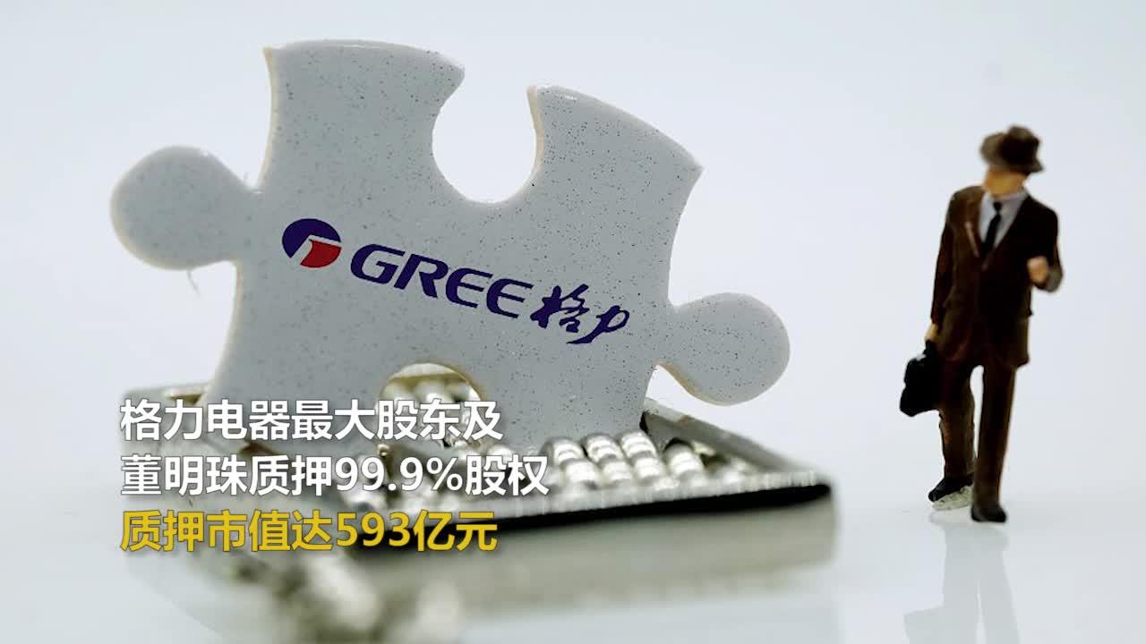 格力电器最大股东及董明珠质押99.9%股权质押市值达593亿元