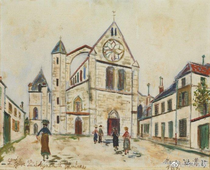 巴黎街道的明信片郁特里罗油画作品 --华卿画室