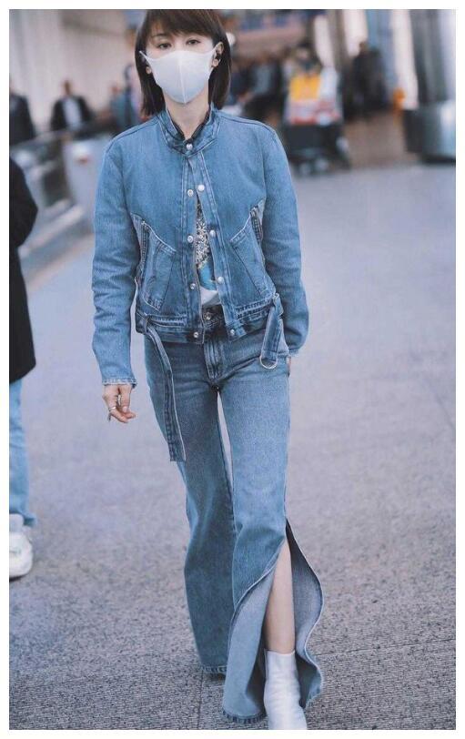 """王子文的""""旗袍裤""""火了,配牛仔衣气场全开,成了矮个子模范穿搭"""