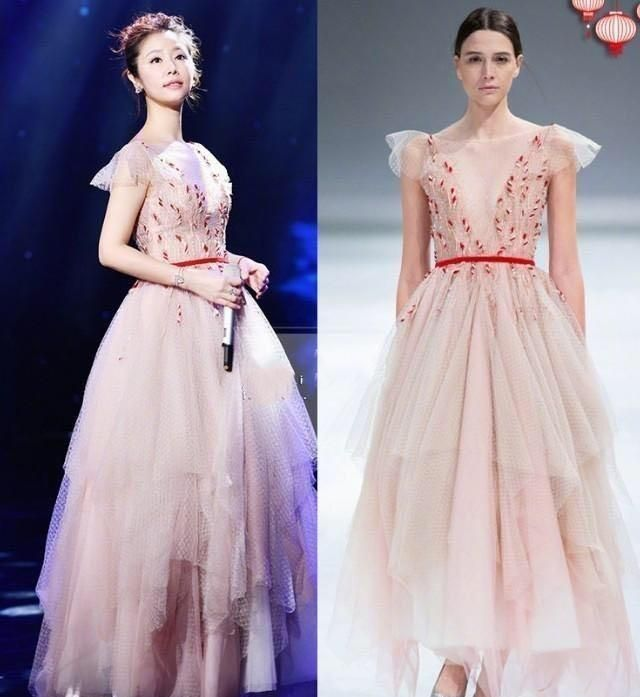 林心如春晚造型太仙气了,薄纱裙点缀刺绣凸显气质,减龄不止10岁