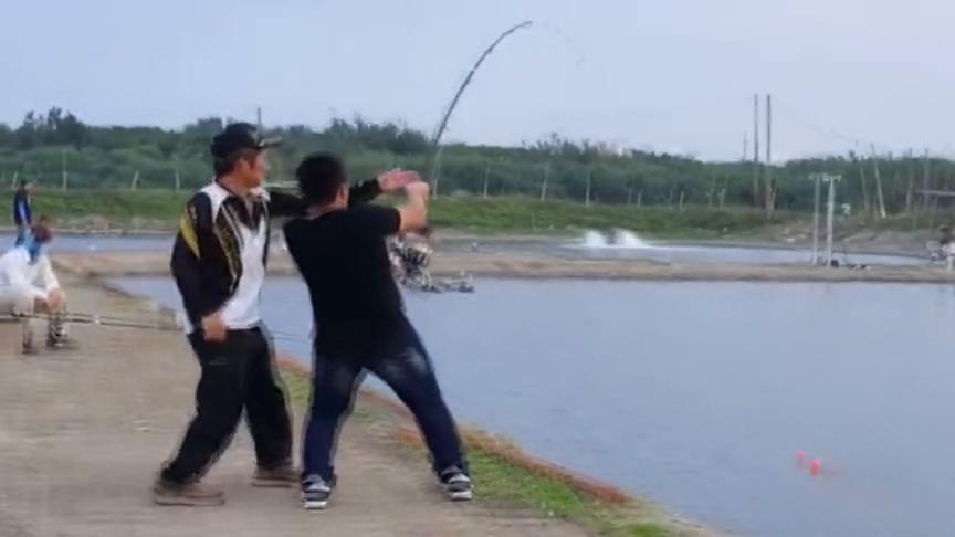 钓友在百元一天的黑坑钓鱼,竟被他钓到三四十斤的大鱼