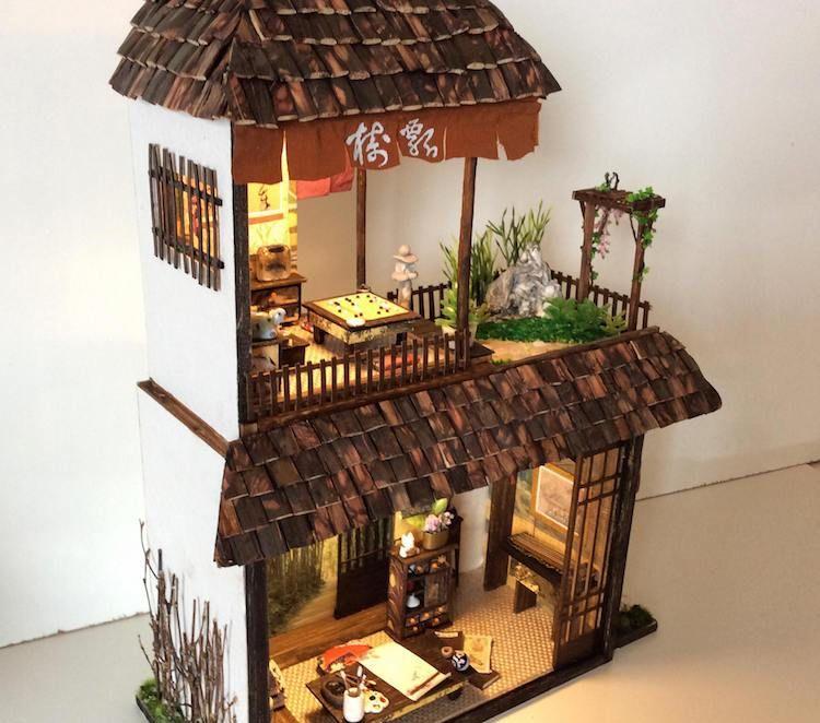 艺术家制作微雕日本民宿,麻雀虽小五脏俱全