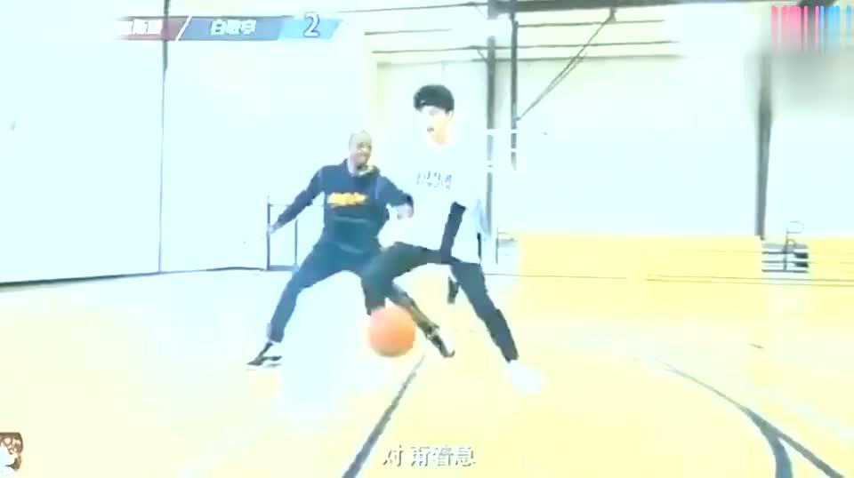 曾经的街球王阿尔斯通与白敬亭篮球单挑 果然专业的还是专业的