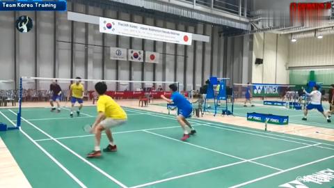 低视角 韩国队男双训练局 金载焕 姜珉赫vs罗星升 金东柱
