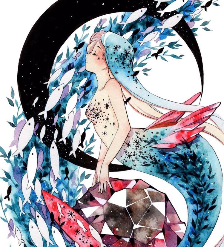 水彩手绘,创意又梦幻的美人鱼插画