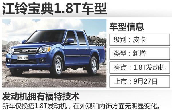 懂车皇:江铃宝典将增配全新1.8T汽油增压发动机