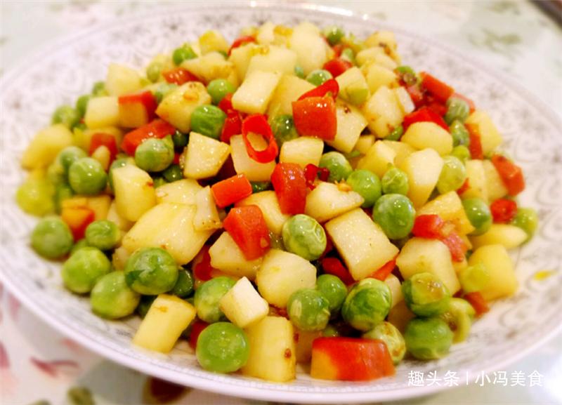 豌豆和山药一起炒,顺滑脆爽,简单又美味,孩子最喜欢