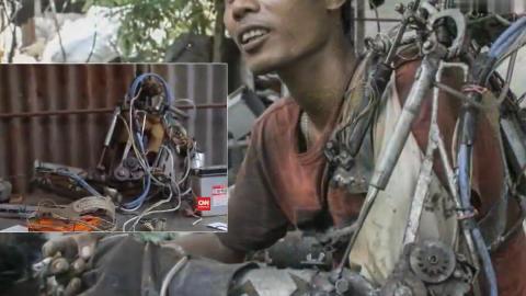 印尼机修男子手臂残疾,用废旧的零件打造一副超牛的机械臂