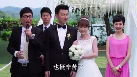 婚礼现场一片其乐融融,众人把酒言欢,瞧把新郎新娘给乐的