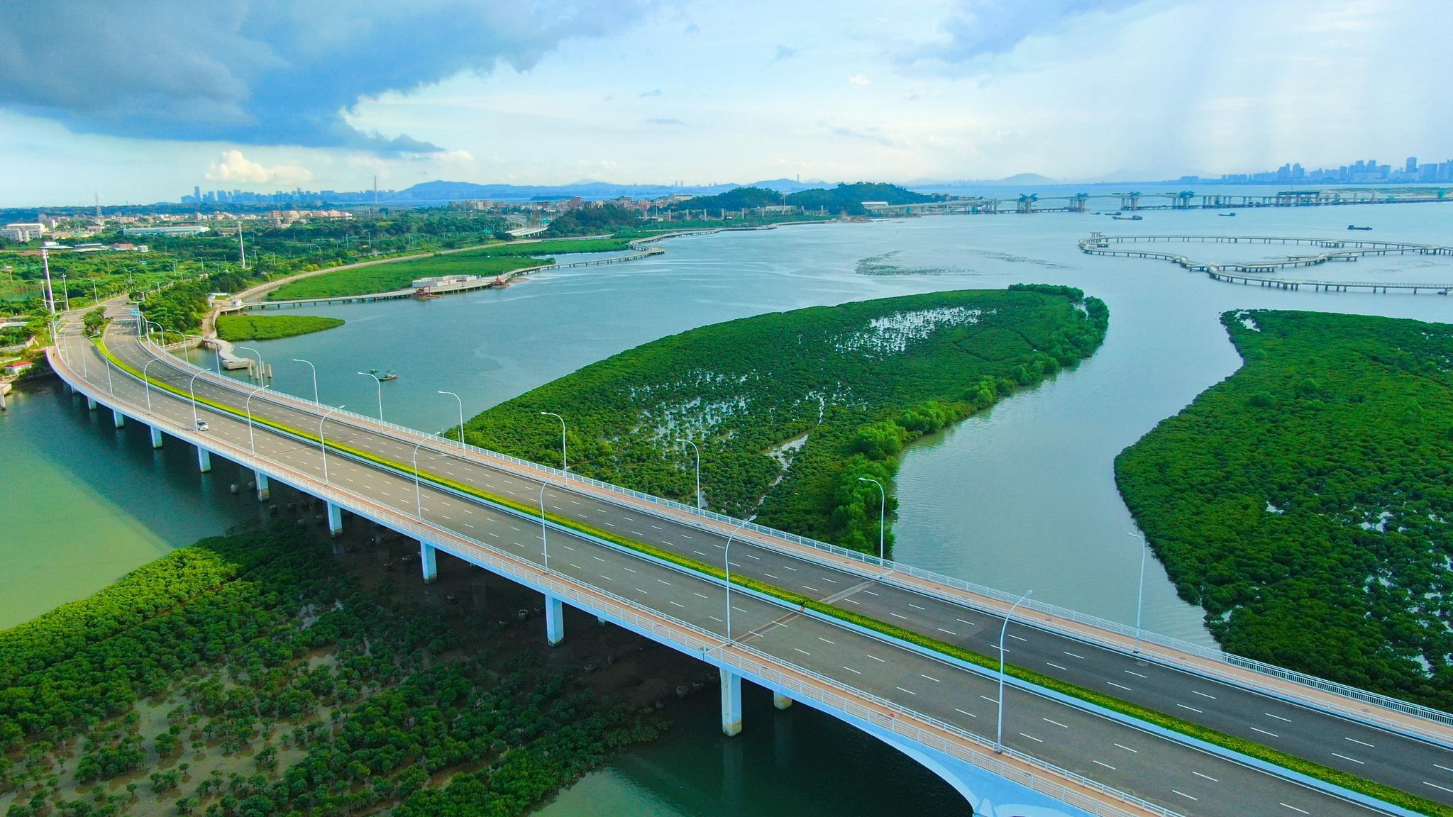 航拍国内首座斜拉桥,也是厦门环东海域五座标志性之一的大桥