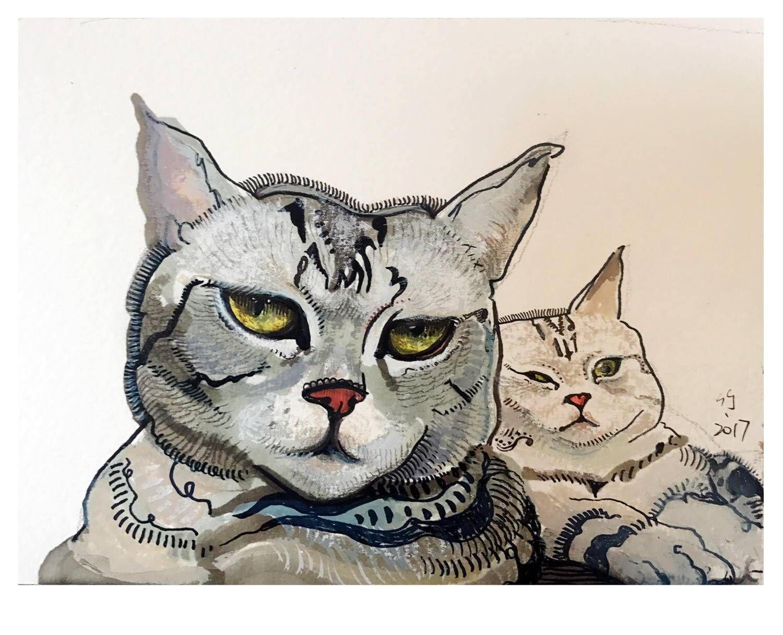 鲁迅美术学院毕业生杨竹喧关于猫的绘画作品(一)