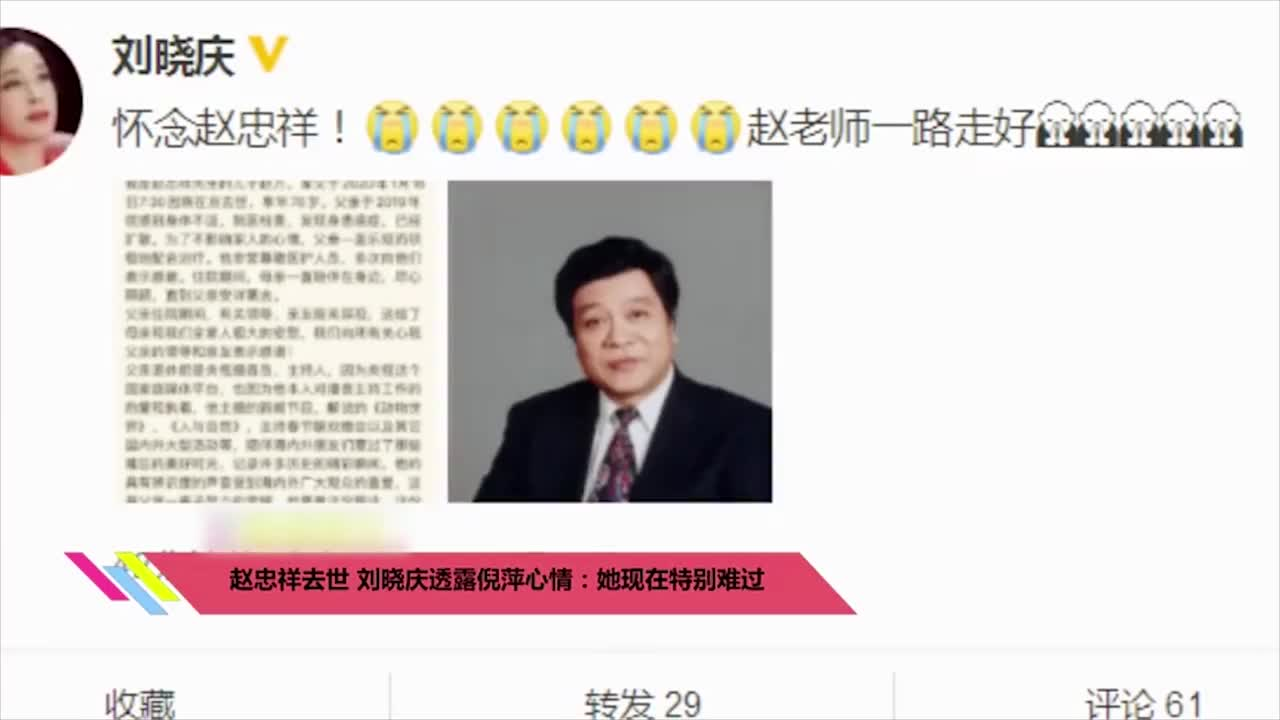 赵忠祥去世不久刘晓庆透露倪萍心情她现在特别难过