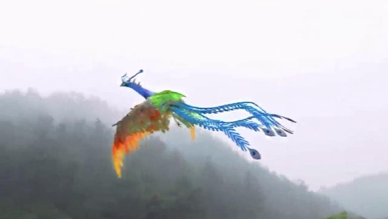 杨戬用凤凰羽毛做了个发卡送给小蝶
