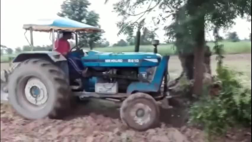 印度农民啥事都干得出来竟用拖拉机伐树网友脑子短路了
