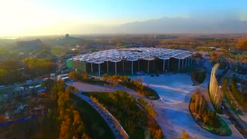 「建设期间航拍」北京世界园艺博览会园区建筑 工地 施工