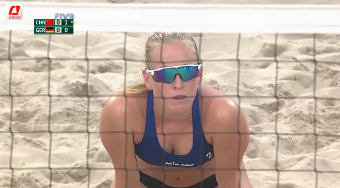 第七届军人运动会沙滩排球女子小组赛A组,中国队2-0德国队