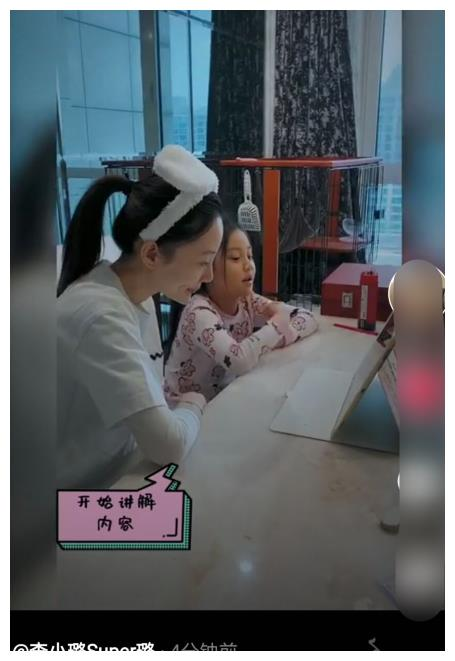 李小璐晒带娃日常,认真陪甜馨上课学习,耐心举例讲解妈妈力十足