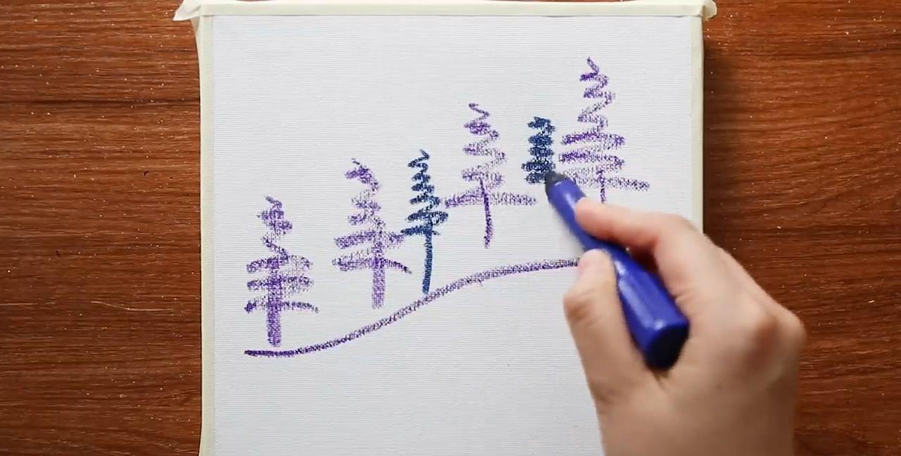 冬季雪景的绘画方法,简单易学,非常漂亮!